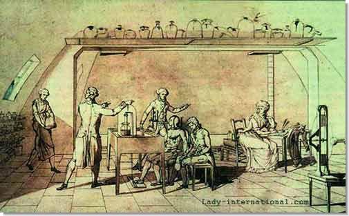 Один из рисунков мадам Лавуазье, на котором изображён проводимый её мужем эксперимент.